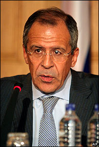 Sergei Lavrov at a news conference in Tehran, 20 June 2007