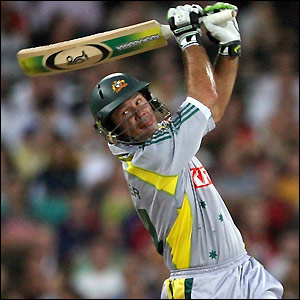 Ricky Ponting launches another shot towards the boundary