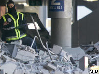 The wreckage of the Madrid airport bombing
