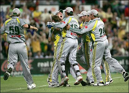 Australia's players celebrate the dismissal of Flintoff for a duck