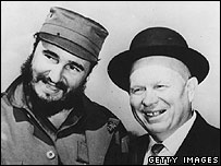 Fidel Castro (left) and Nikita Khrushchev (right)