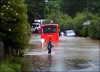 Stranded bus at Greasbrough. Copyright Chris Lant