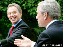 Tony Blair with George W Bush, on his last visit to Washington as British PM