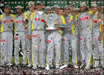 Australia's players celebrate victory