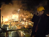 Worker at refinery in Hungary