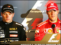 Kimi Raikkonen (left) and Michael Schumacher