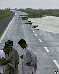 A highway damaged by the floods in Pakistan