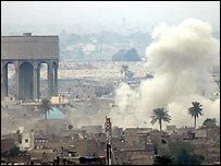 Smoke rises over western Baghdad