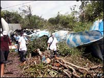 Wreckage of the PMT Air plane