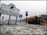 Snowplough on the A9 in the Highlands