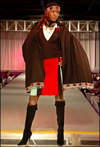 Model wearing a design for Kenya's national dress
