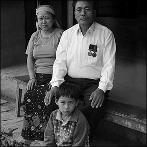 Dilbahadur Gurung with his wife, Parbati and their grandson, Sudeep