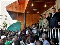 Hamas leaders at rally in Gaza - 24 June