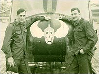 US helicopter pilot DeWayne Browning (left) serving in Vietnam
