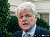 Senator Edward Kennedy outside the White House on 8 January 2006