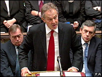 Mr Blair at the despatch box at prime Minister Questions, Wednesday 27 June 2007