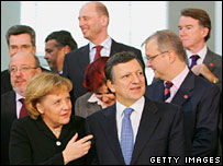 Jose Manuel Barroso with Angela Merkel and cabinet members. Image: Getty