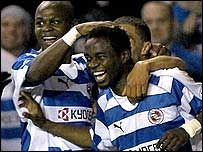Reading goalscorers Leroy Lita (left) and Sam Sodje celebrate