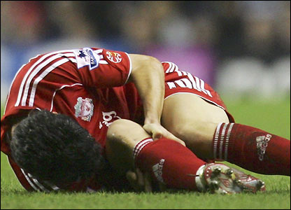 Luis Garcia lies injured