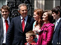 The Blairs on the doorstep at 10 Downing Street