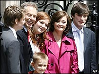 The Blair family outside Downing St