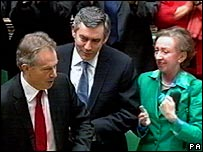 Tony Blair applauded by Gordon Brown and Margaret Beckett