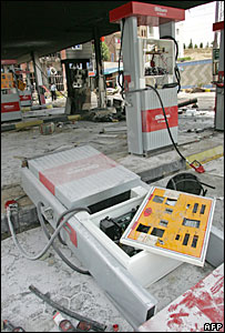 Damaged petrol station in Tehran