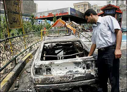 Car burnt during Iran fuel protests