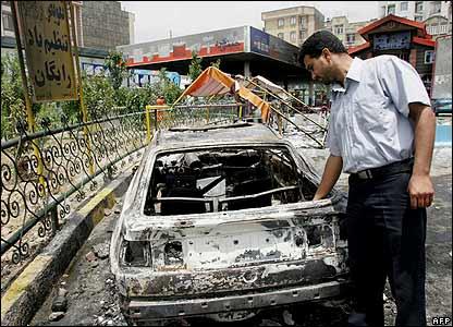Car burnt during Iran fuel protests