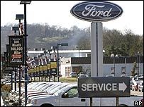 Ford trucks in a parking lot