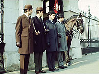 Civil servants in Horse Guards Parade, 1973