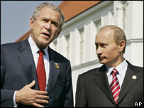 George W Bush and Vladimir Putin at G8 summit June 2007