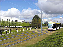 Artist impression of an Edinburgh tram