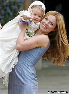 Geri Halliwell, with baby Bluebell