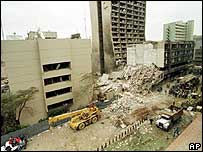 US embassy in Nairobi following bomb attack in August 1998 (file photo)