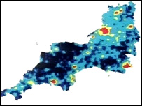 Map showing the areas worst affected by light pollution (marked in red and yellow)