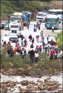 Cierre de vía en Cochabamba