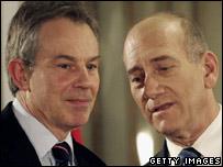 Former British Prime Minister Tony Blair and Israeli PM Ehud Olmert