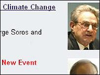 Página del London School of Economics anunciando un debate sobre cambio climático con la participación de George Soros