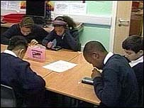 Pupils using hand-held computers