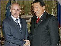 Vladimir Putin y Hugo Chávez