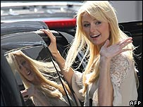Paris Hilton leaves the CNN studio in Hollywood, California