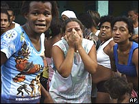 Residents at the Alemao slum complex in Rio de Janeiro