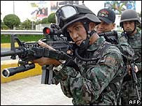 Philippine police special action force security drill in Cebu