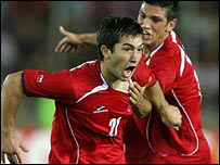 Carlos Villanueva (left) scored Chile's winner against Ecuador