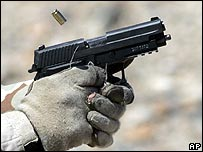 Generic picture of a handgun being fired