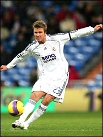 David Beckham in action for Real Madrid
