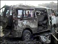 Video grab of burnt-out bus in Baghdad - 28/6/2007