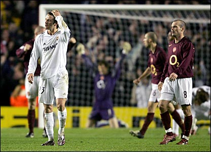 David Beckham trudges off after losing to Arsenal in the Champions League