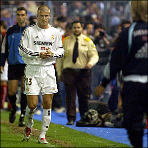 David Beckham is sent off for Real Madrid in a La Liga game against Murcia in May 2004